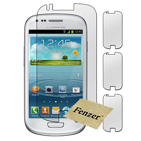 3 Pack Fenzer Clear Screen Protector for Samsung Galaxy S4 4 Mini Cell Phone Transparent LCD Touch Screen Guard Cover Shield w/ (Cell Phone Covers For Samsung 4)