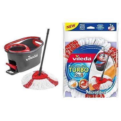 Vileda Easy Wring & Clean Turbo - Juego de fregona, color negro y rojo +