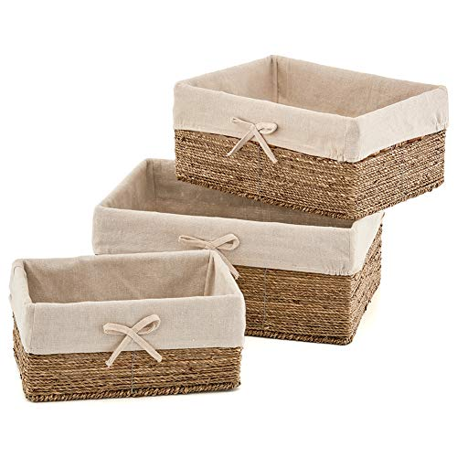 EZOWare Set of 3 Seagrass Nesting Wicker Shelf Storage Baskets Container Bins with Removable ()