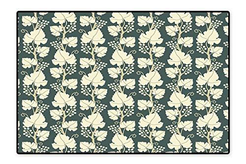 (Area Rug OrnateLattice Pattern Floral Style Ornate Agriculture Vineyard Branch Green Beige Modern Watercolor Multicolor 5'8