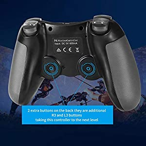 Etpark PS4 Controller, Wireless Controller for PS 4/Pro/Slim/PC, Touch Panel Gamepad with Six-axis Dual Vibration Shock and Audio Jack, Anti-Slip Grip and Mini LED Indicator