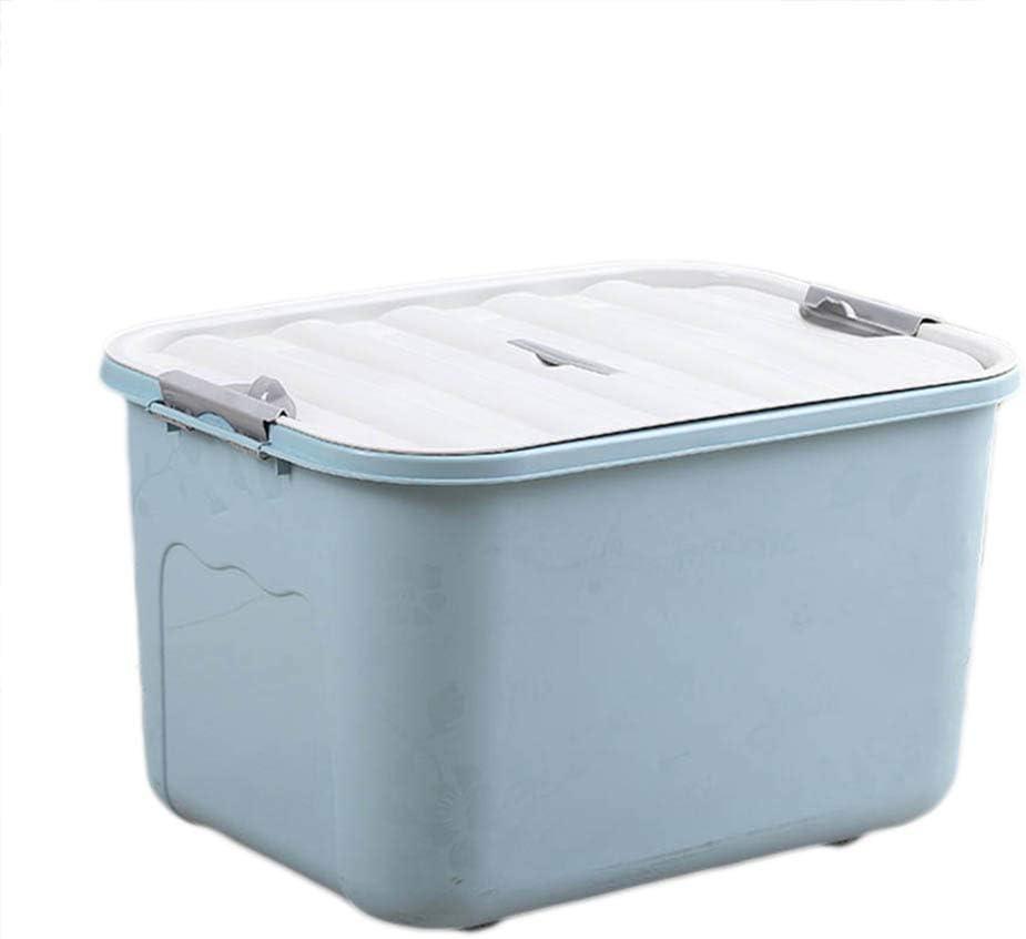 litty089 Organizador de recipientes para el hogar, de plástico de Color sólido con Tapa, Apto para Ropa de edredón, decoración para Caja de Almacenamiento de artículos de tocador