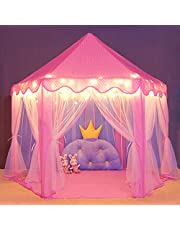 wilwolfer Princess Tent for Girls with Star Lights Large Play Tents Little Girl Toys Pink Castle Kids Play House Children Gift Indoor and Outdoor Playhouse