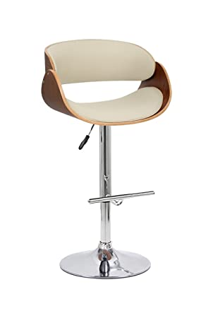 Fabulous Aspect Curved Padded Bar Stool Walnut Wood White Leather Effect Seat And Chrome Base Evergreenethics Interior Chair Design Evergreenethicsorg