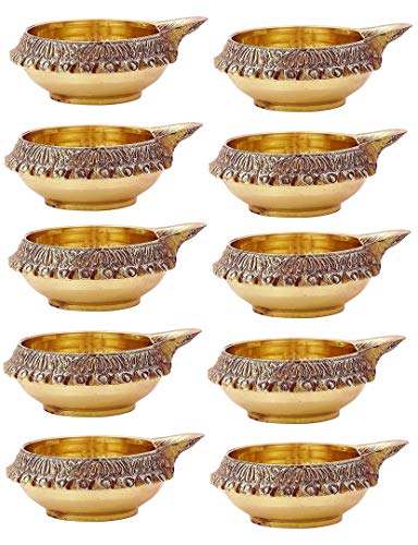100% Pure Virgin Brass Diwali Diya (Set of 10) Indian Pooja Oil Lamp - Golden Engraved Design 2.5 Inch. Deepawali Diya/Tea Light Holder/Diwali/Christmas Decoration. Traditional Oil Lamp