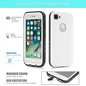 Floating Waterproof Case for iphone 7 with 2 Float Straps and Fisheye lens and Kickstand GUYO Swimming Cover with Touch ID Clear Sound and Touch Screen (4.7inch) with IP68 Certified Cover (White)