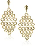 14k Yellow Gold Italian Multi-Circle Chandelier Dangle Earrings