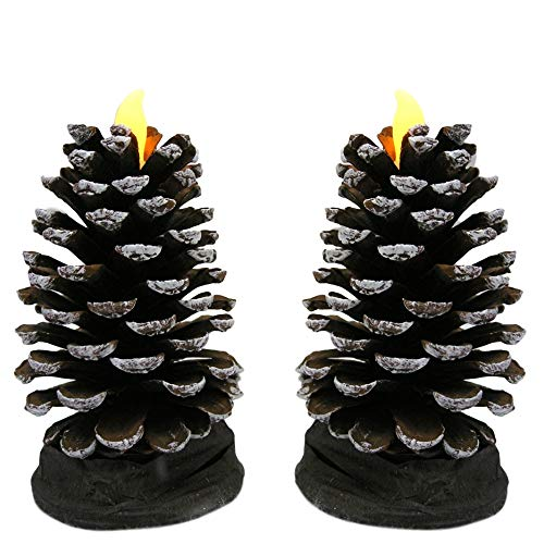 Pinecone Shaped Candles - Set of 2 Flameless Cone Shaped Candle with LED Battery Operated Lights - Pine Cone - Shaped Cone Led