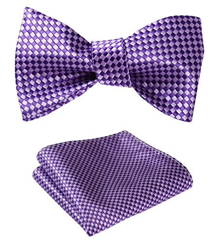 - HISDERN Men's Check Plaid Bowtie Formal Tuxedo Self-Tie Bow Tie and Pocket Square Set Purple
