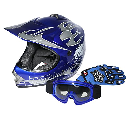 XFMT Youth Kids Motocross Offroad Street Dirt Bike Helmet Goggles Gloves Atv Mx Helmet Blue Skull L (Atv Off Road Helmet)