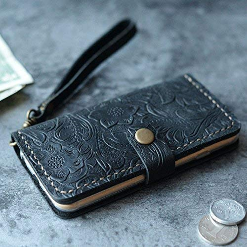 best service 308f9 012dd iPhone XS/XS MAX/XR / 8/8 Plus / 7 Plus Case iPhone 6S 6 Plus SE Case  Leather Wallet Gifts for Womens Mens Italian Tooled Leather (Black Pattern)