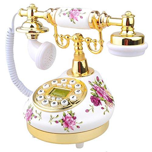 Zhangming® Retro Design Telefon Vintage Analog-Telefon Wählscheibentelefon Nostalgie Telefon Innendekoration (9101 weiss mit Blumendekor)