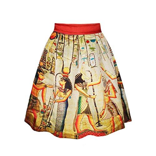 ZIOOER - Falda estilo casual con estampado digital y cinturilla elástica Egypt Culture