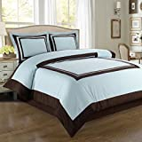 Luxury Hotel 3pc Full/Queen Blue with Chocolate duvet cover set 100% Cotton