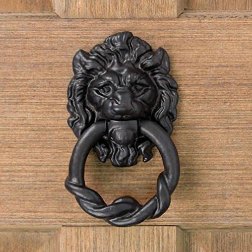 (Casa Hardware Hand-Forged Iron Lion Head Door Knocker - Black Powder Coat)