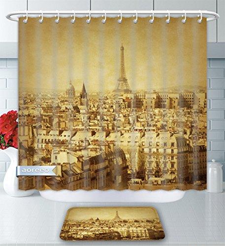 (Aoreeo Bathroom Two-Piece Set Eiffel Tower Decor Collection Classic Photo Eiffel Tower Paris National Landmark Old Album Memories Vintag Shower Curtain Bath Rug Set, 66