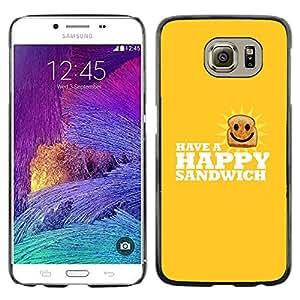 Caucho caso de Shell duro de la cubierta de accesorios de protección BY RAYDREAMMM - Samsung Galaxy S6 - Feliz Sandwich divertido Lol