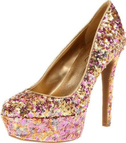Jessica Simpson Womens Devin2 Platform PumpGolden Rose Sparkle8 M US