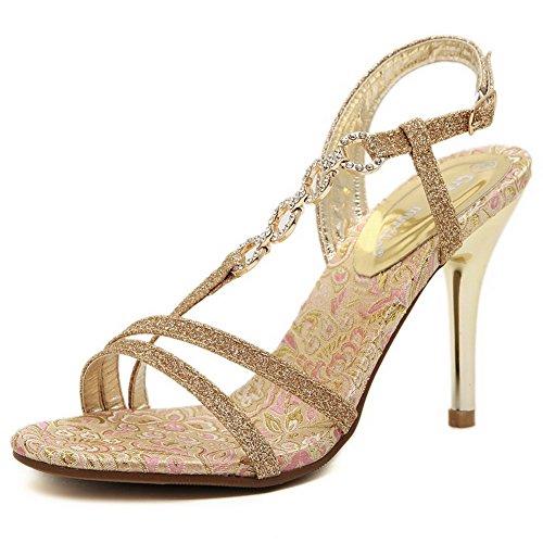 Allhqfashion Donna Mix Materiali Assortiti Fibbia Di Colore Open Toe Picchi Stiletto Sandali Oro
