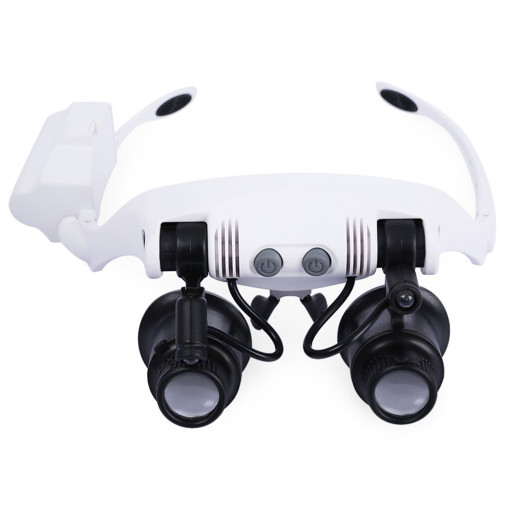 10X 15X 20X 25X Headband Magnifier with 2 LEDs Light Changeable Multiple Magnified Tool Handsfree Reading Head Mount Magnifier Glasses Light Lenses for Reading, Jewelry Loupe, Watch Electronic Repair