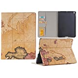 KingTo iPad Pro 9.7 Case, Map Pattern Slim Book Style Stand with Card Slots Screen Protective for iPad Pro 9.7 Inch Tablet - Brown