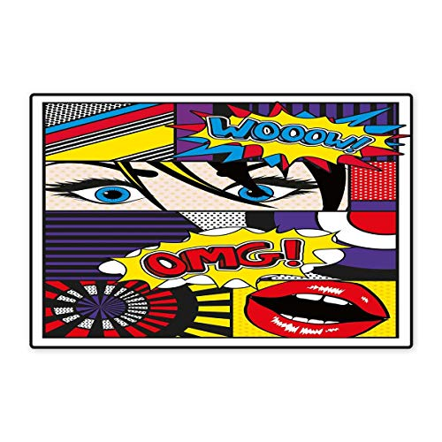 Art Door Mat Outside Comic Book Inspired Style Wooow OMG Eyes Reading Panels Lines Excitement Action Print Floor Mat Pattern 32