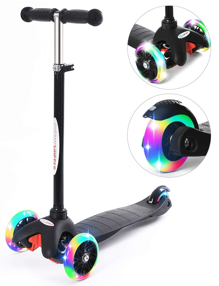 ChromeWheels Scooter for Kids, Deluxe 4 Adjustable Height 3 Wheels Glider with Kick Scooters, Lean to Steer with LED Flashing Light for Kids 3-6 Years Old Girls Boys Toddlers, Black