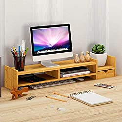 Blackobe Simple Stylish Bamboo Computer Monitor Stand Computer Riser, Laptop Stand And Desktop Storage Organizer With Shelves And Drawer