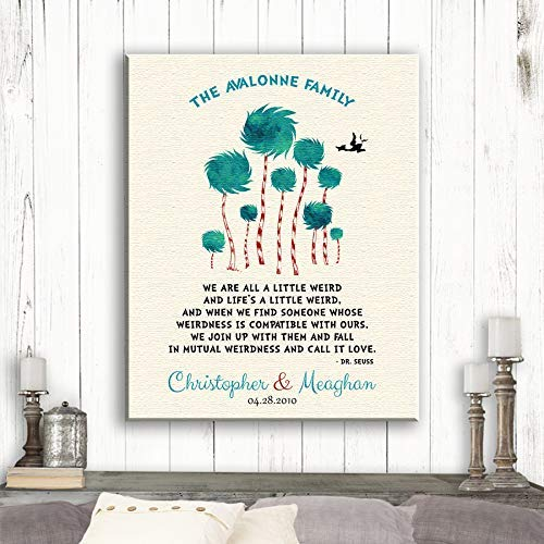 1 Year First Anniversary Gift Dr. Seuss Personalized Truffula Trees We Are All A Little Weird Quote Custom Print Paper Canvas Metal #1470 Canvas Print