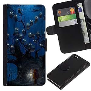 EJOY---La carpeta del tirón la caja de cuero de alta calidad de la PU Caso protector / Apple Iphone 6 / --Búho azul acuarela de la noche