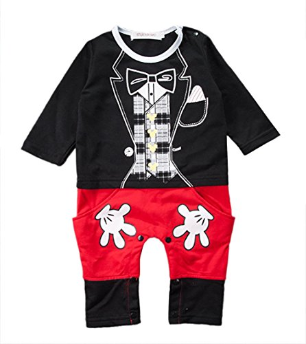 stylesilove Baby Boy Mickey Mouse Inspired Costume Jumpsuit (90/18-24 Months) Black