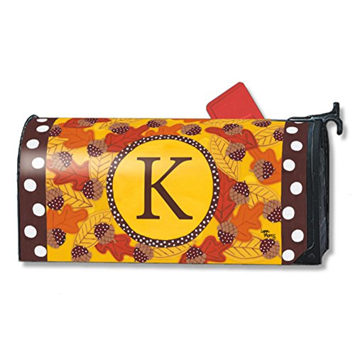 Fall Follies Monogram K Magnetic Mailbox Cover Autumn Leaves Acorns Letter (Leaves Magnetic Mailbox Cover)