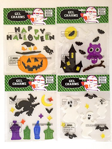 Halloween Gel Clings White Ghosts Pumpkins Bats Assorted Window Stick-0ns