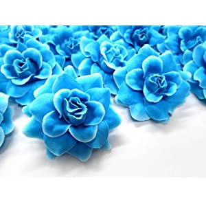 "(24) Silk Blue Diamond Roses Flower Head - 1.75"" - Artificial Flowers Heads Fabric Floral Supplies Wholesale Lot for Wedding Flowers Accessories Make Bridal Hair Clips Headbands Dress 1"
