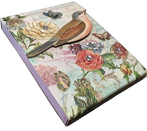 Punch Studio Gold Foil & Gem Embellished Pocket Notepad ~ Painted Bird 61526