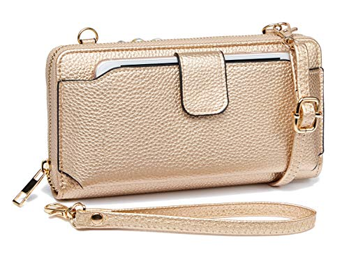 Heaye Wristlet Wallet Phone Bags for Women with Card Slots Rose Gold