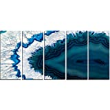 Design Art PT14377-60-28-5PE 5 Panels Blue Brazilian Geode Abstract Canvas Wall Art Print, 60 x 28''