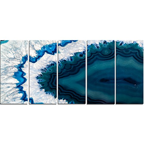 Design Art PT14377-60-28-5PE 5 Panels Blue Brazilian Geode Abstract Canvas Wall Art Print, 60 x 28'' by Design Art