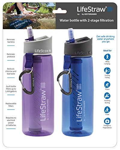 LifeStraw Go Water Filter Bottles with 2-Stage Integrated Filter Straw for Hiking, Backpacking, and Travel (Pack of 2), Purple and Blue]()