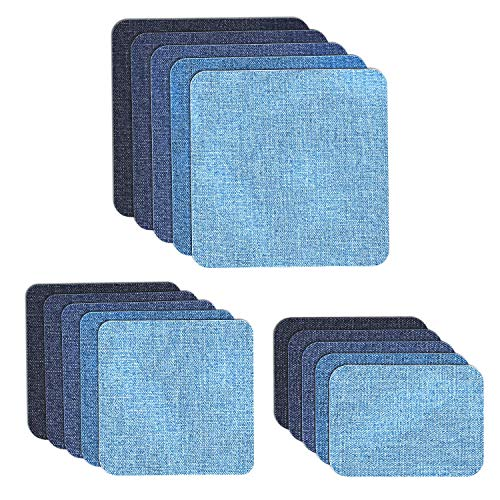 Jeans Patch Sewing - Iron on Denim Patches for Jeans, Muscccm 15 Pcs Sew On Patches For DIY Clothing Jeans Jackets Bags Iron-on Repair Kit, 5 Colors