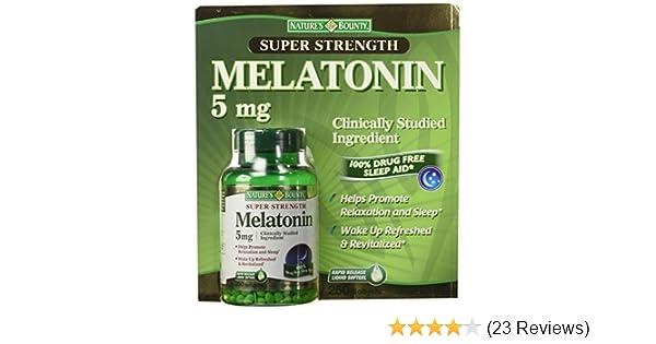 Amazon.com: Natures Bounty Super Strength Melatonin 5 mg (250 softgels) 2 Pack: Health & Personal Care