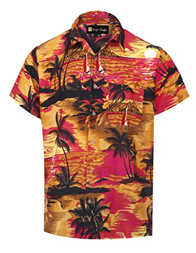 Virgin Crafts Men's Hawaiian Shirts Casual Button Down Short Selvee Palm Pink Alloha ()