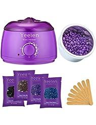 Yeelen Hair Removal Kit Hot Wax Warmer Waxing Kit Wax Melts with 4 Flavors Hard Wax Beans(14.1oz ) and 10 Wax Applicator Sticks for Painless Wax of Legs, Face, Body, Bikini Area