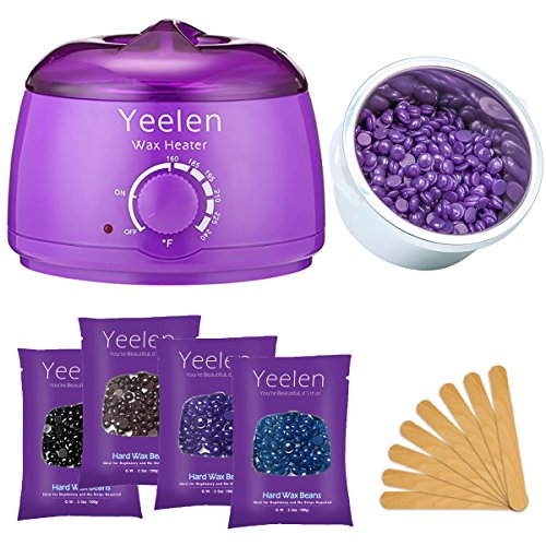 Yeelen Hair Removal Kit Hot Wax Warmer Waxing Kit Wax Melts with 4 Flavors Hard Wax Beans(14.1oz ) and 10 Wax Applicator Sticks for Painless Wax of Legs, Face, Body, ()