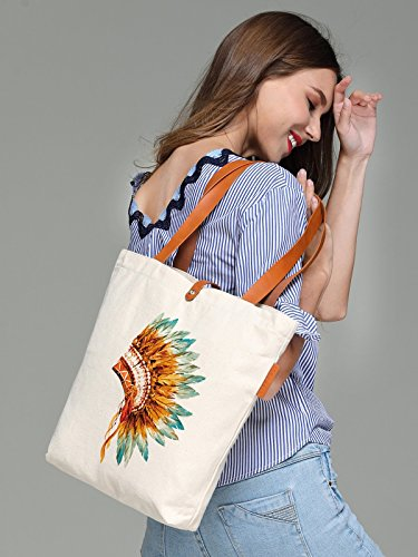 So'each Women's Indian Feather Headgear Top Handle Canvas Tote Shoulder Bag