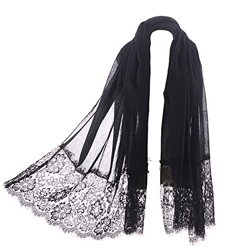 Women Fashion Scarf Wrap Shawl,RiscaWin Autumn Soft Lightweight Lace Scarves Wrap Warm Scarf(Black)