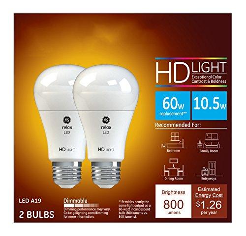GE Lighting Relax LED HD 10.5-watt (60-watt Replacement), 800-Lumen A19 Light Bulb with Medium Base, Soft White, 2-Pack - 96685