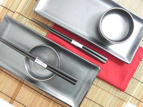 MySushiSet 7 piece Black Crystal Sushi Set with Matching Soy Sauce Dispenser Sushi Set Made In Japan