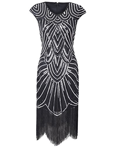 PrettyGuide Women's 1920s Gatsby Diamond Sequined Embellished Fringed Flapper Dress – 6-8, Black