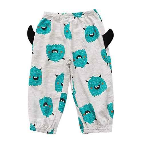 Newborn Toddler Kids Pajama Pants,Crytech Unisex Soft Cotton Cartoon Demon Print Elastic Waist Loose Casual Long Lounge Sleep Pants for Baby Boy Girls Halloween Costume Clothing (2-3 Years, Green)